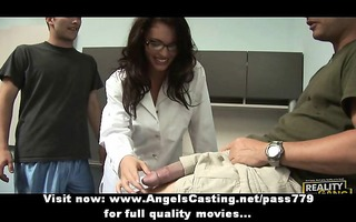 hawt dark brown assistant does oral-stimulation