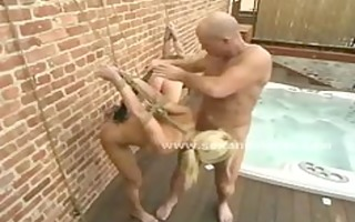 couple of blond sex slaves drilled and humiliated