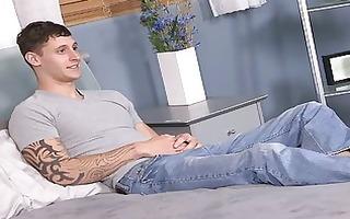 homo fellow shows his muscles