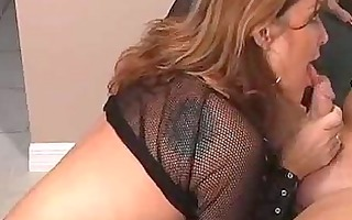 hot brunette hair mother i in boots blows