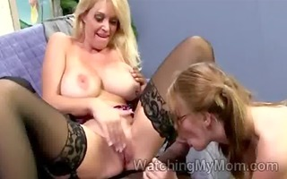blond and daughter acquire their pink wet cracks