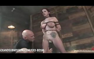 bound redhead receives masturbation and gives