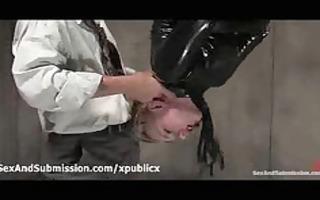 fastened suspended blond sucks shlong in police