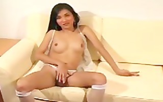 hawt japanese lady-boy playing with her hard dong