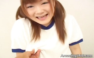 japenese redhead with merry love melons receives