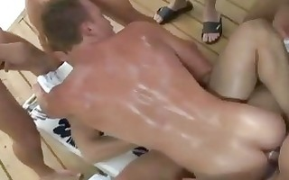 a homo porn pool side male fuckfest
