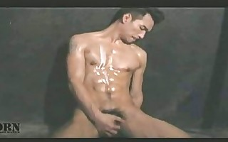 oriental muscled homo boy with lotion