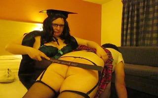 transvestite schoolgirl acquires otk drubbing off