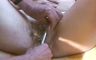 mature lady getting insane shave job