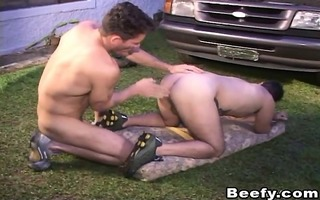 outdoor anal fucking of muscle homosexual