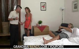 slutty granny takes two cocks