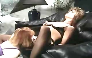office lesbian babes in retro video scene