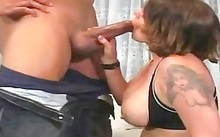 enormous chested mother i bunette with tattoo