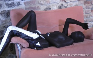 eager spandexbabe in fullbody catsuit