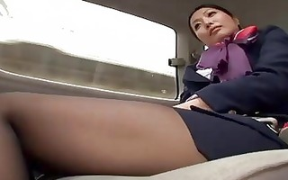 valuable japanese air hostess plays with some