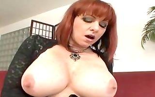 breasty older redhead receives hard boner up her