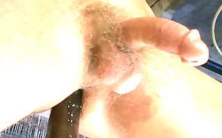 sexy hairless gay man wanks off his big prick