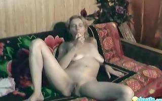 hot nina sextoy play on the sofa
