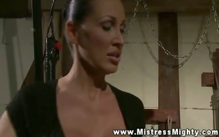 breasty mistress abuses her hawt fastened up