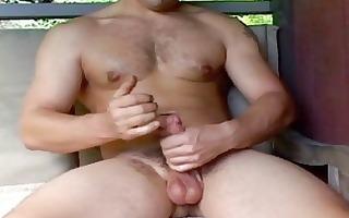 impressive homosexual stud jerks off his violent