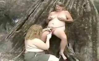 old lesbo bitches having joy in the wood.