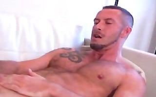 rock hard stylish homo guy jerks off his giant