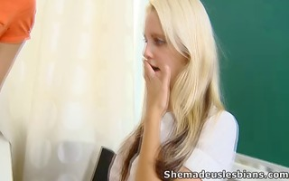 marisa and her friend have a lesson with older