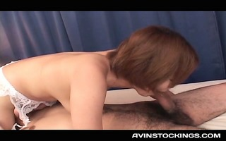 jap doxy in nylons fitting bulky pecker into her
