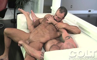 hot muscled chap receives a rod massage from his