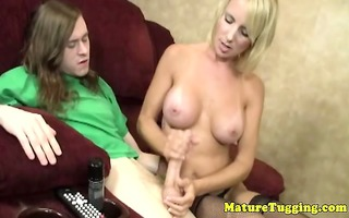 blond aged mother i tugs his younger pounder
