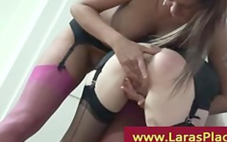 aged lady and brunette hair licking