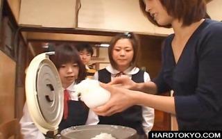 oriental students tasting dude cream