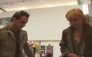 youthful boy picks up old golden-haired and bonks