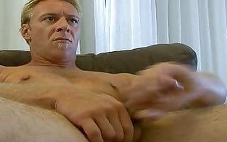 homo hunk jerks off on bed
