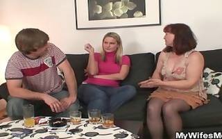 her old mama sucks and rides his penis