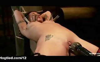 tied playgirl with clamped meatballs toyed and