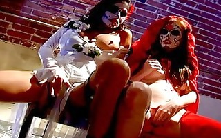 lesbian pornstars with perverted body art rub