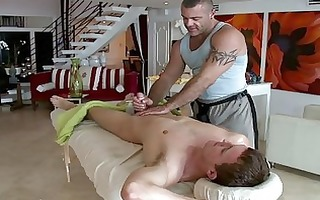homosexual masseur is giving guy a blow job