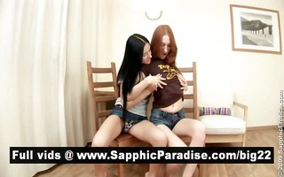 sexy brunette and golden-haired lesbos licking