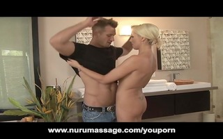 golden-haired mother i nuru massage turns into
