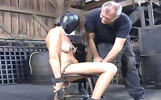 gagged and fastened up girl acquires her clits