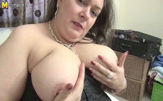 british big beautiful woman mom lucie with hungry