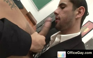 homosexual chaps engulfing hard dong at the office