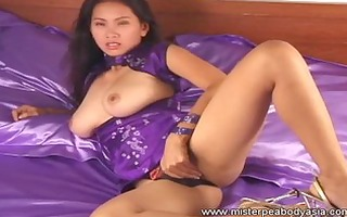 nice-looking oriental slot screwed self on her