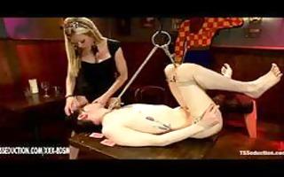 slavery guy gives oral-job joy on blond lady-man