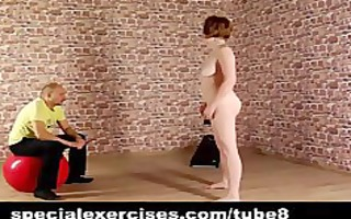redhead lady receives naked discipline training