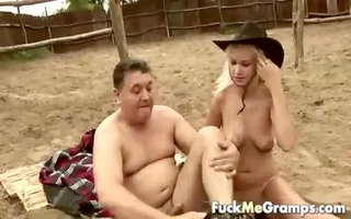 chunky old lad screwed by blond hotty