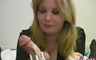 chastity femdom mastix tugjob tease
