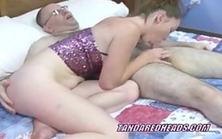 redhead wench navaya receives group-fucked by a