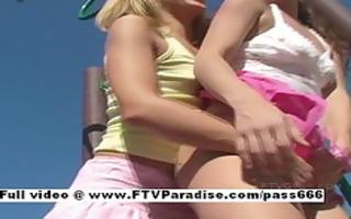 enchanting lesbian babes having sex in public